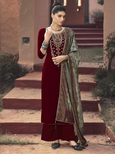 Maroon Velvet Embroidered Festival Palazzo Pant Kameez