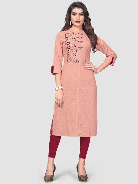 Coral Pink Cotton Embroidered Party Kurti