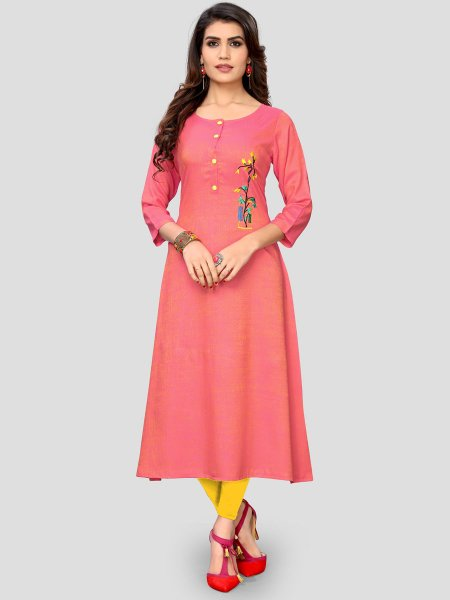 Carmine Pink Rayon Embroidered Party Kurti