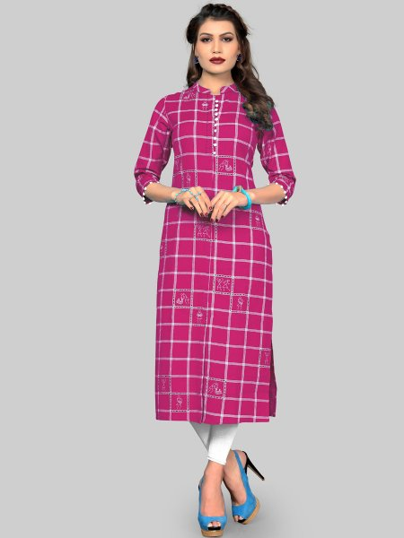 Magenta Pink Cotton Printed Party Kurti