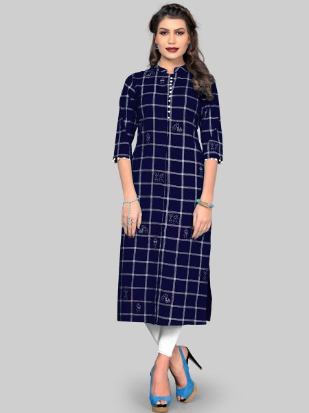 Navy Blue Cotton Printed Party Kurti