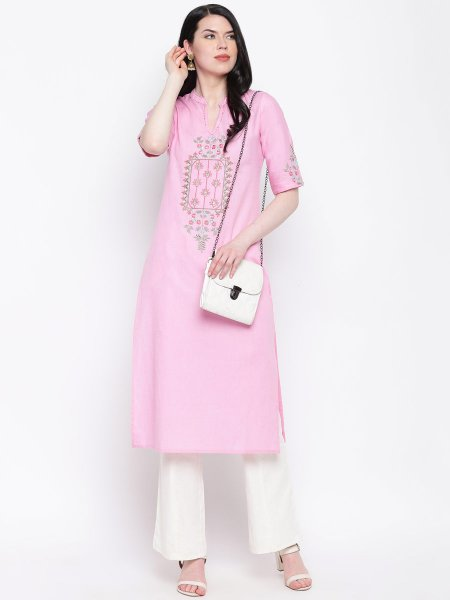Light Pink Cotton Embroidered Party Kurti