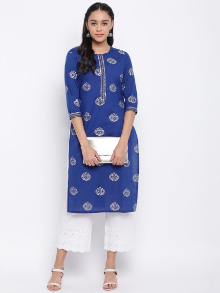 Royal Blue Cotton Printed Party Kurti