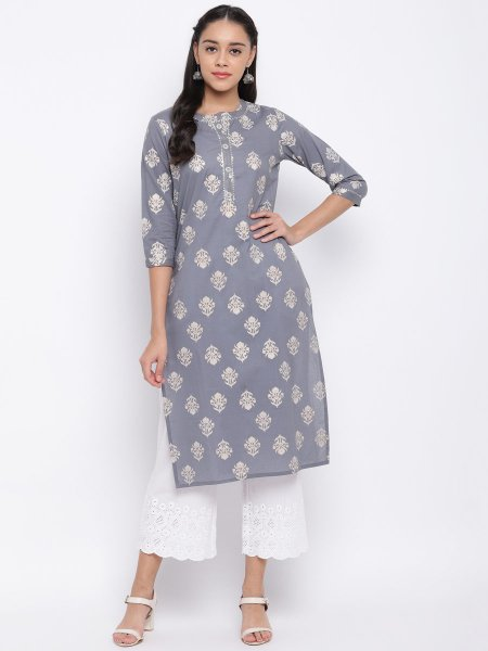 Gray Cotton  Printed Party Kurti