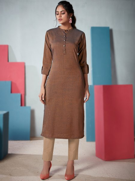 Light Russet Brown Rayon Plain Casual Kurti