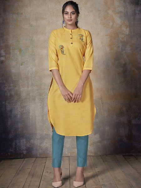 Saffron Yellow Cotton Embroidered Party Kurti