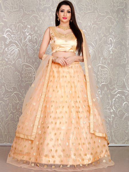 Coral Orange Net Embroidered Festival Lehenga Choli