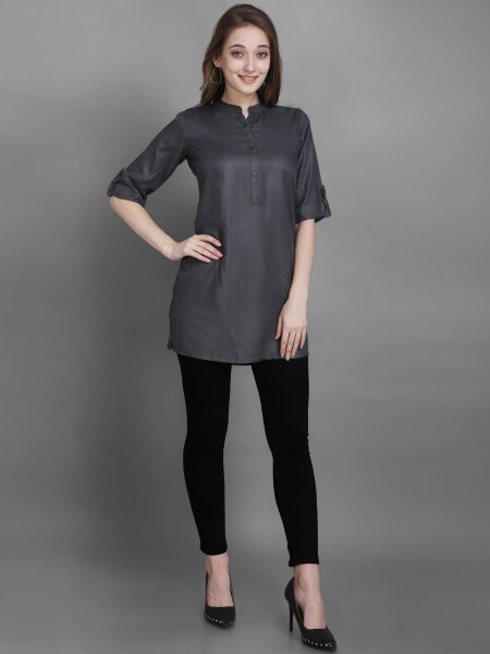 Dark Gray Rayon Plain Casual Kurti