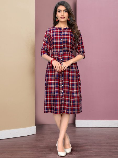 Venetian Red and Navy Blue Rayon Printed Casual Kurti