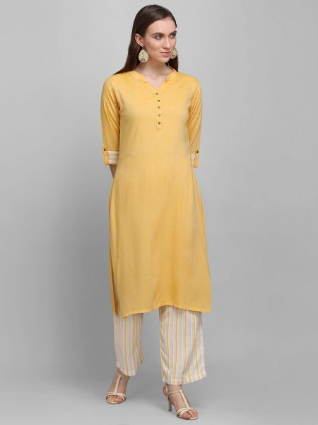 Mustard Yellow Rayon Plain Casual Kurti