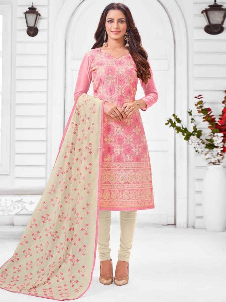 Salmon Pink Silk Embroidered Party Churidar Pant Kameez