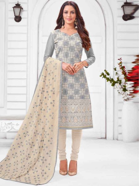 Gray Silk Embroidered Party Churidar Pant Kameez