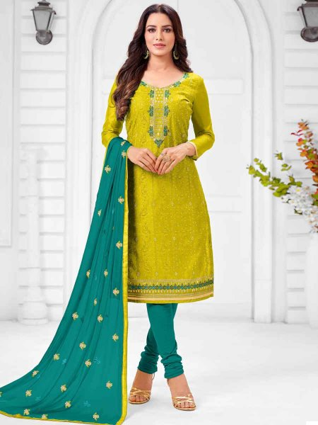 Pear Green Silk Embroidered Party Churidar Pant Kameez