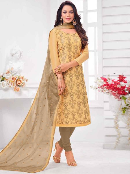 Beige Yellow Silk Embroidered Party Churidar Pant Kameez