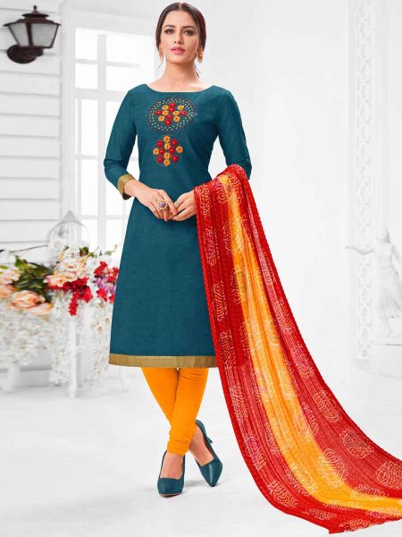 Cerulean Blue Cotton Embroidered Party Churidar Pant Kameez