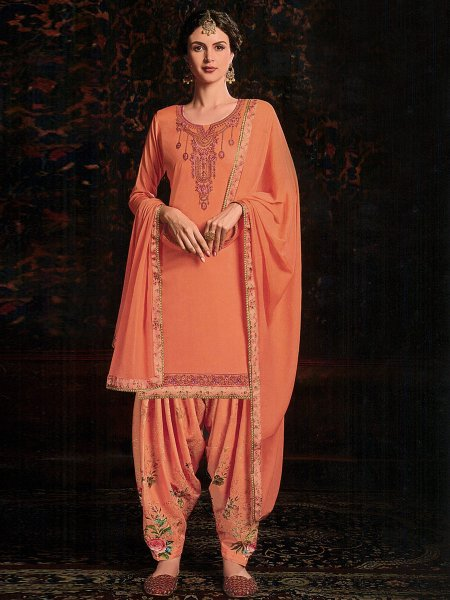 Coral Orange Satin and Cotton Embroidered Festival Patiala Pant Kameez