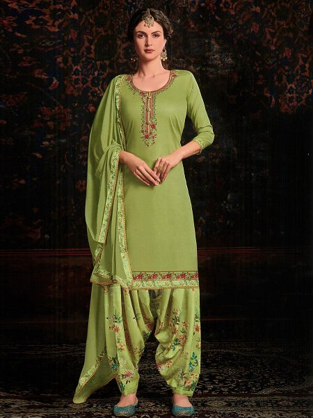 Olive Drab Green Satin and Cotton Embroidered Festival Patiala Pant Kameez