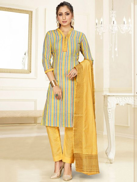 Gray and Saffron Yellow Cotton Printed Party Pant Kameez