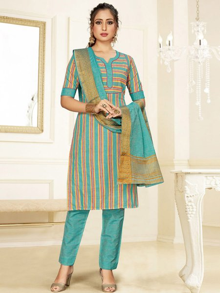 Turquoise Blue Cotton Printed Party Pant Kameez