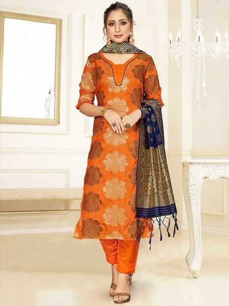 Pumpkin Orange Banarasi Art Silk Handwoven Party Pant Kameez