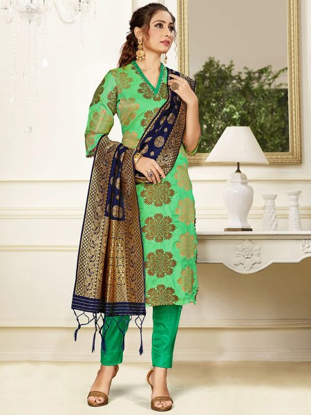 Light Green Banarasi Art Silk Handwoven Party Pant Kameez