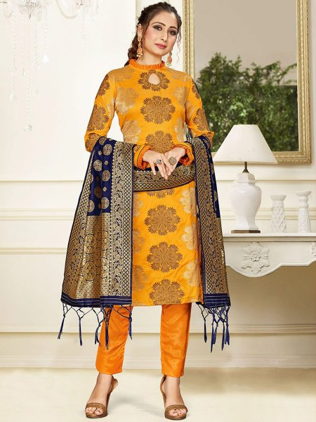 Mustard Yellow Banarasi Art Silk Handwoven Party Pant Kameez