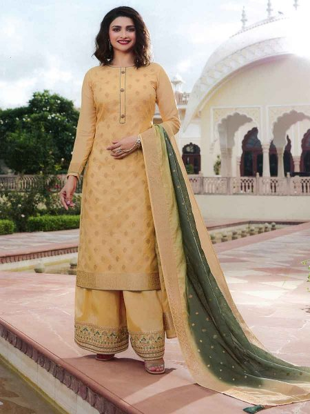 Cream Yellow Jacquard Silk Embroidered Party Palazzo Pant Kameez