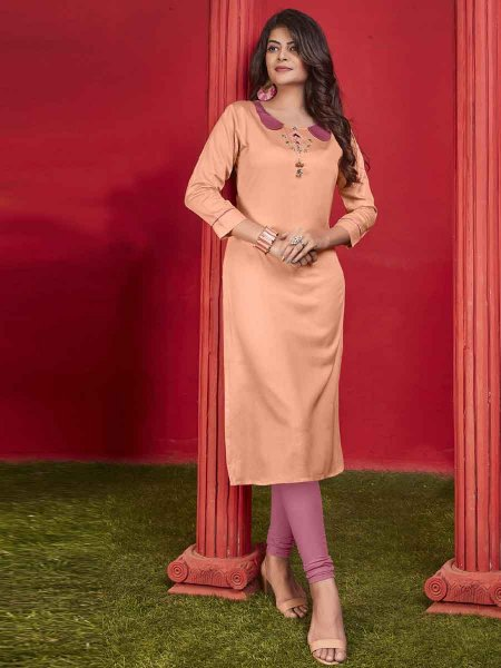 Salmon Orange Cotton Embroidered Party Kurti