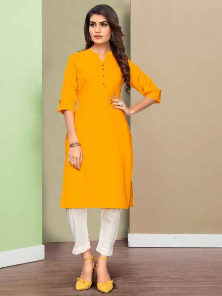 Mustard Yellow Cotton Plain Casual Kurti