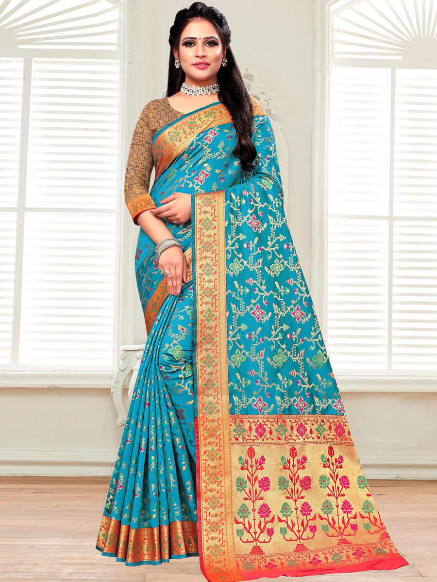Bondi Blue Silk Handwoven Festival Saree