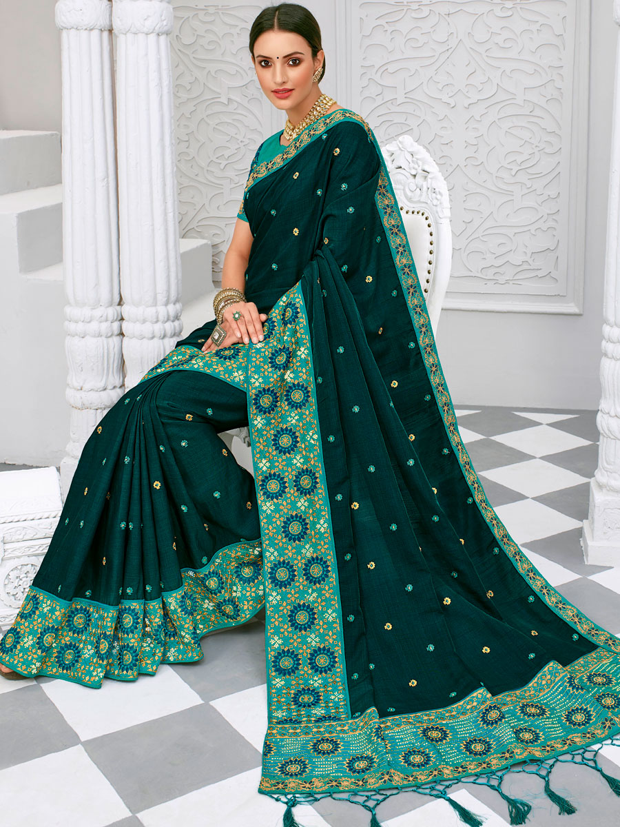Prussian Blue Silk Embroidered Party Saree