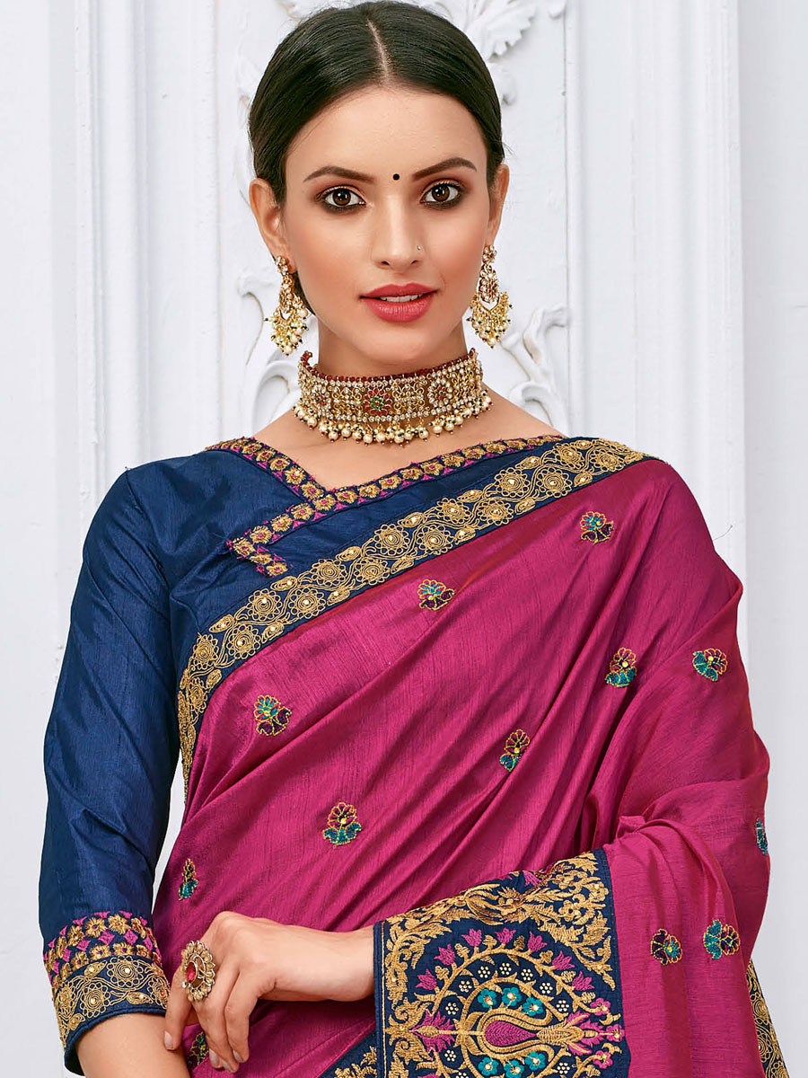 Purple Silk Embroidered Party Saree