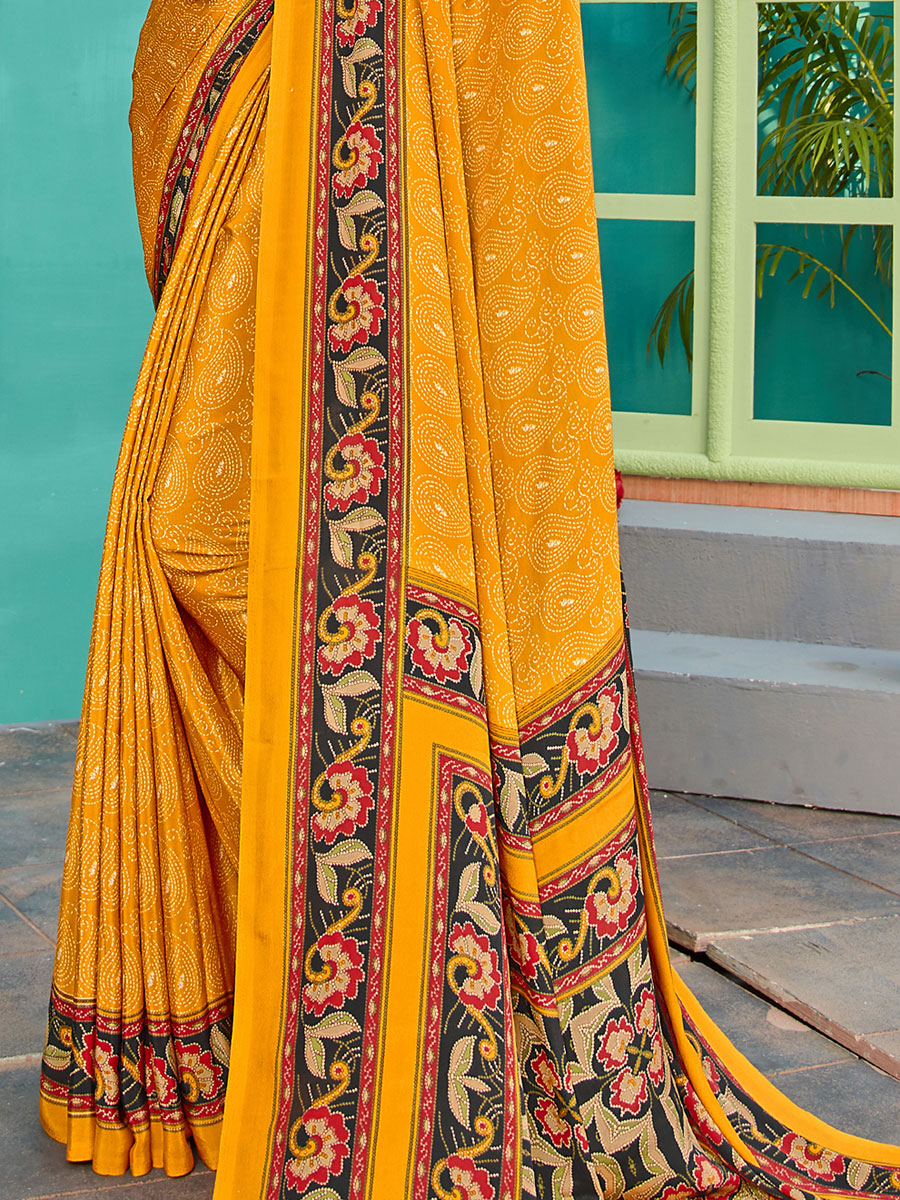 Mustard Yellow Crepe Silk Printed Casual Saree