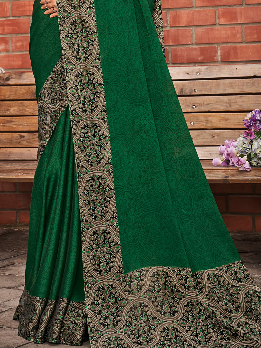 Hunter Green Chiffon Printed Party Saree