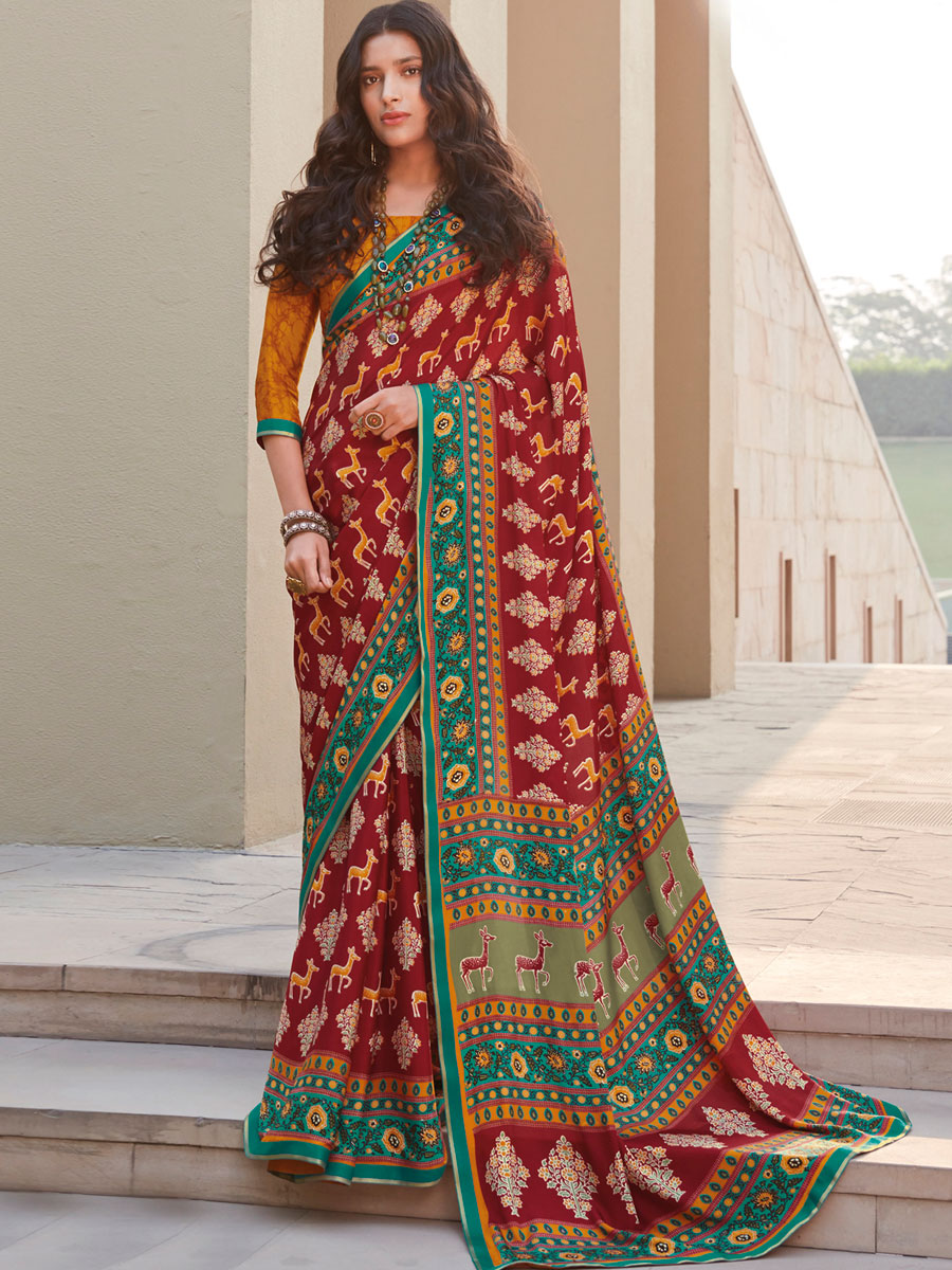 Maroon Crepe Silk Printed Casual Saree