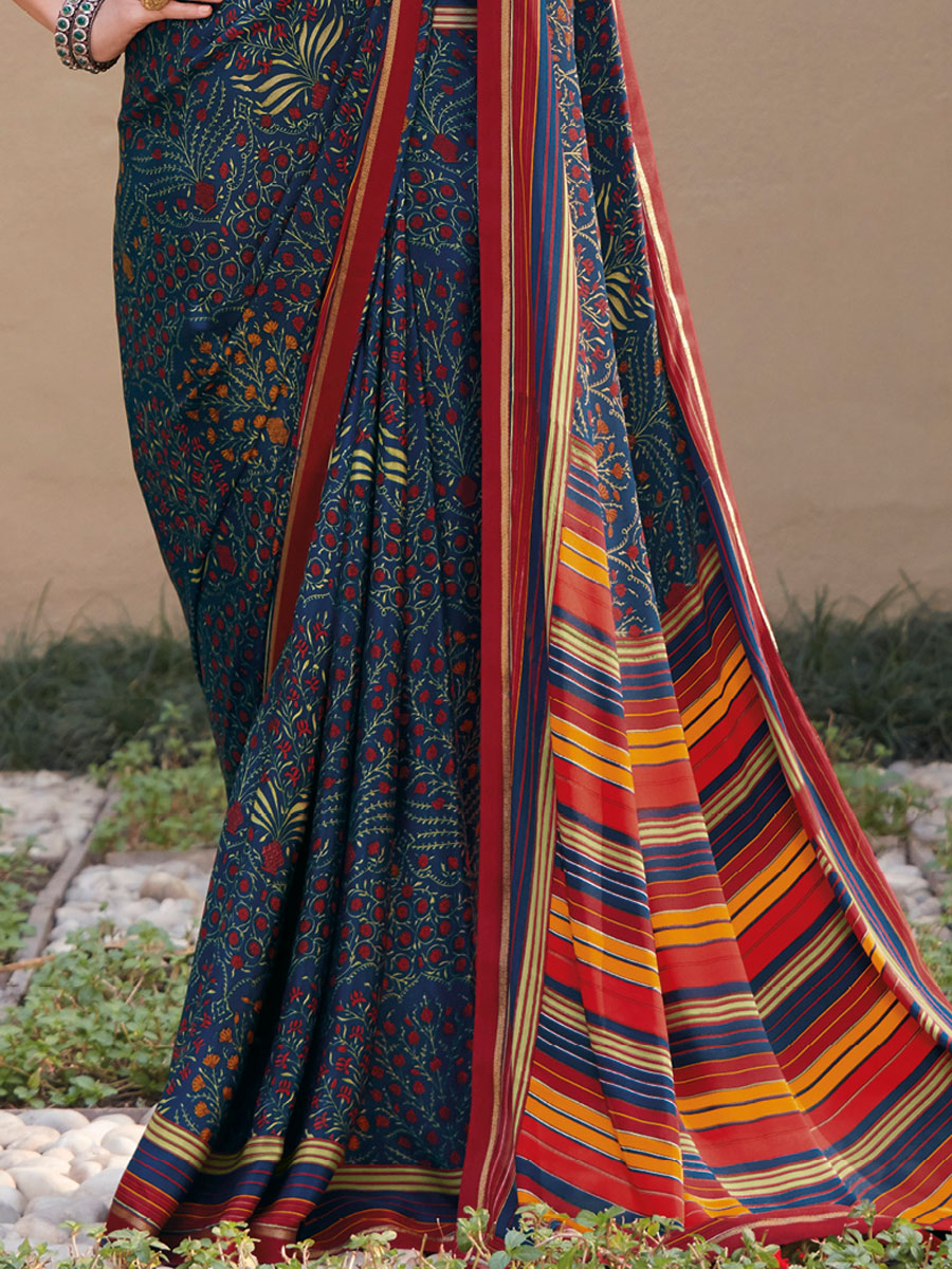 Navy Blue Crepe Silk Printed Casual Saree