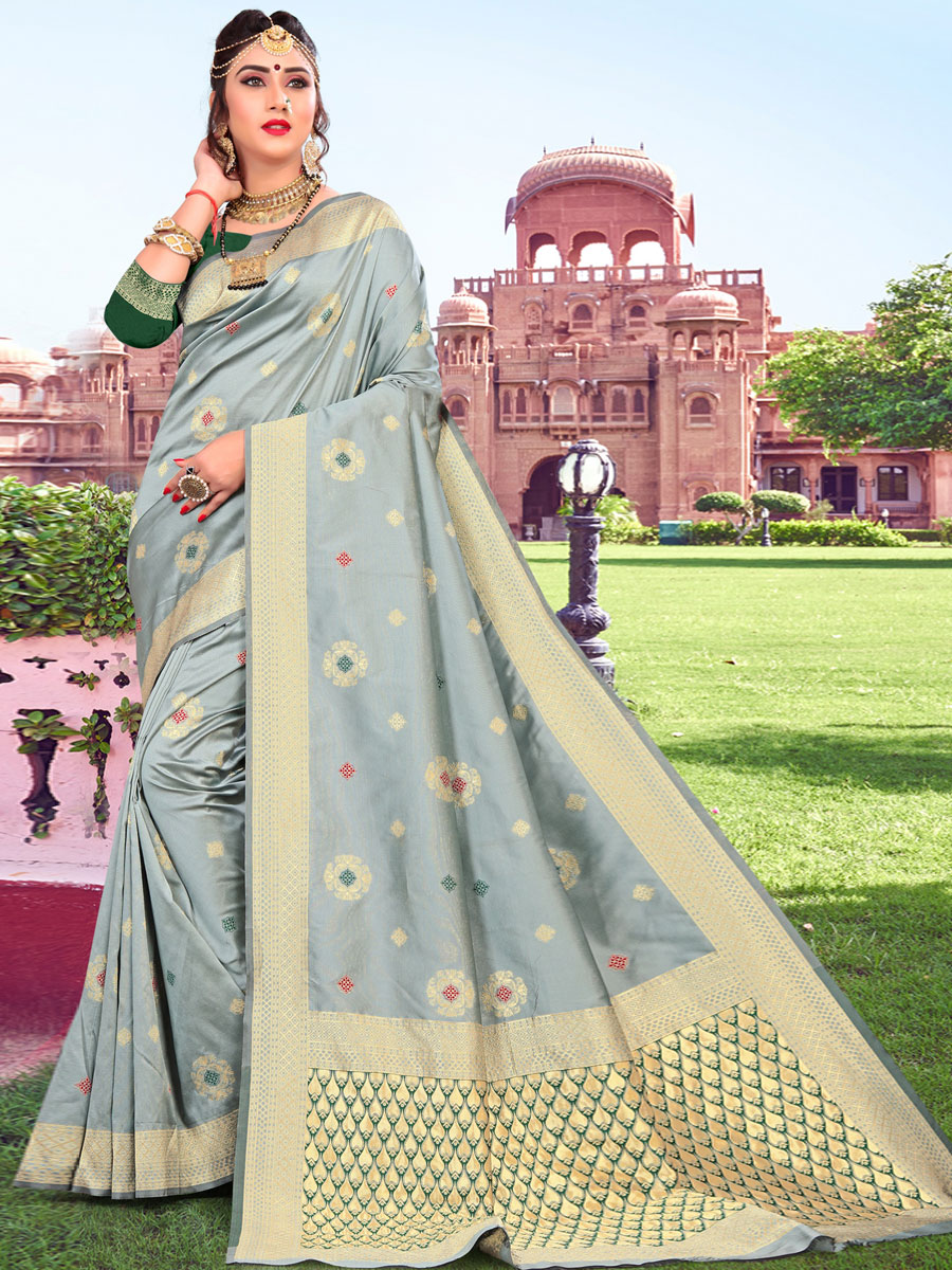 Gray Silk Handwoven Festival Saree