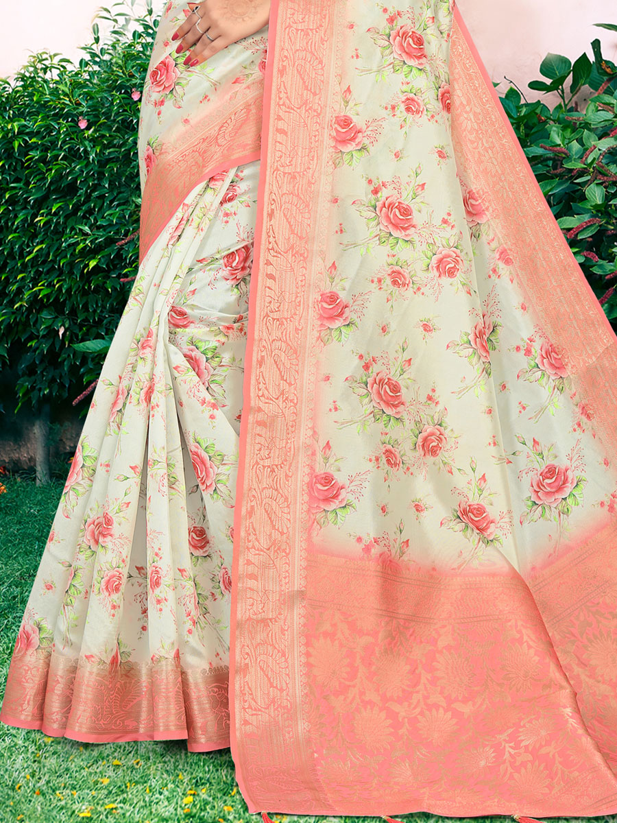 Off-White and Coral Pink Cotton Handwoven Festival Saree