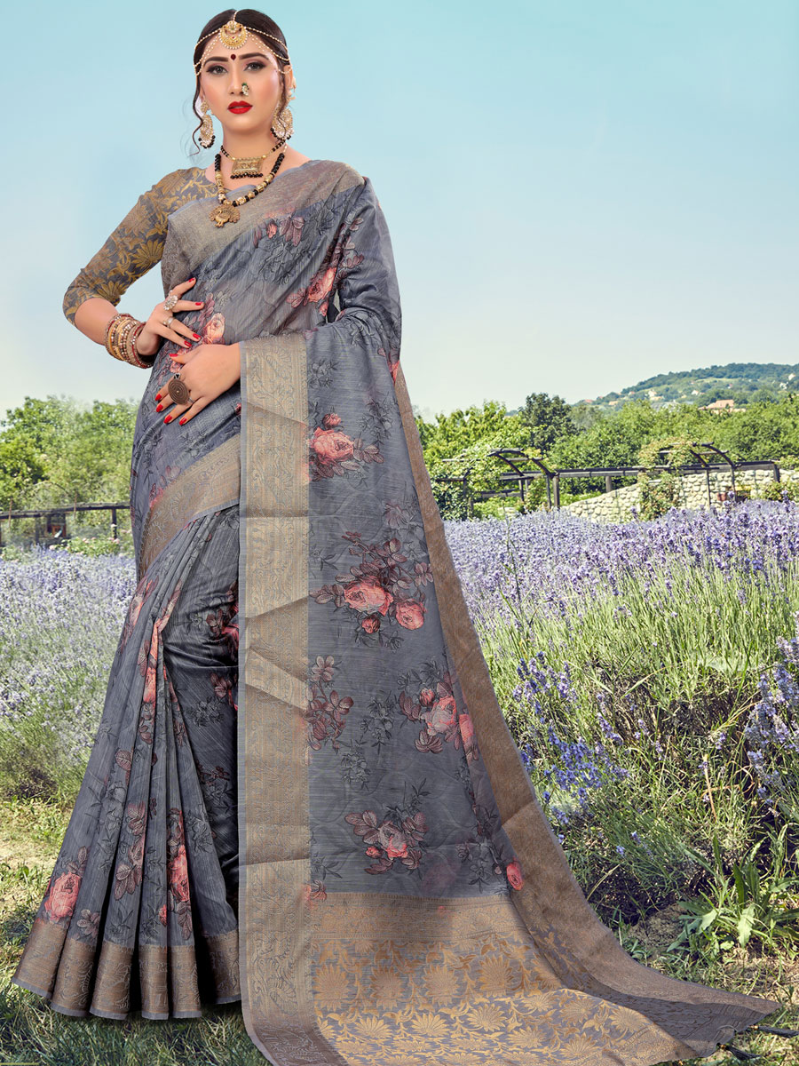 Dark Gray Cotton Handwoven Festival Saree