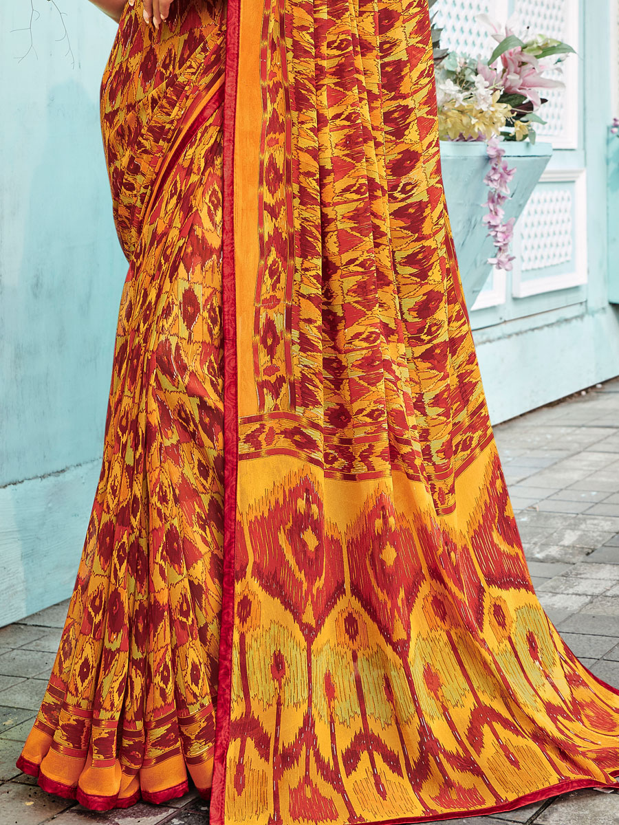 Amber Yellow and Maroon Faux Georgette Printed Casual Saree