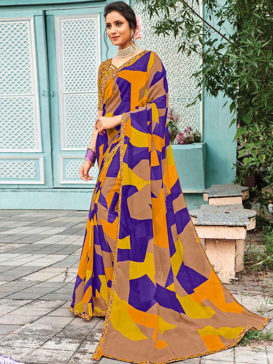 Beige Yellow and Dark Blue Faux Georgette Printed Casual Saree