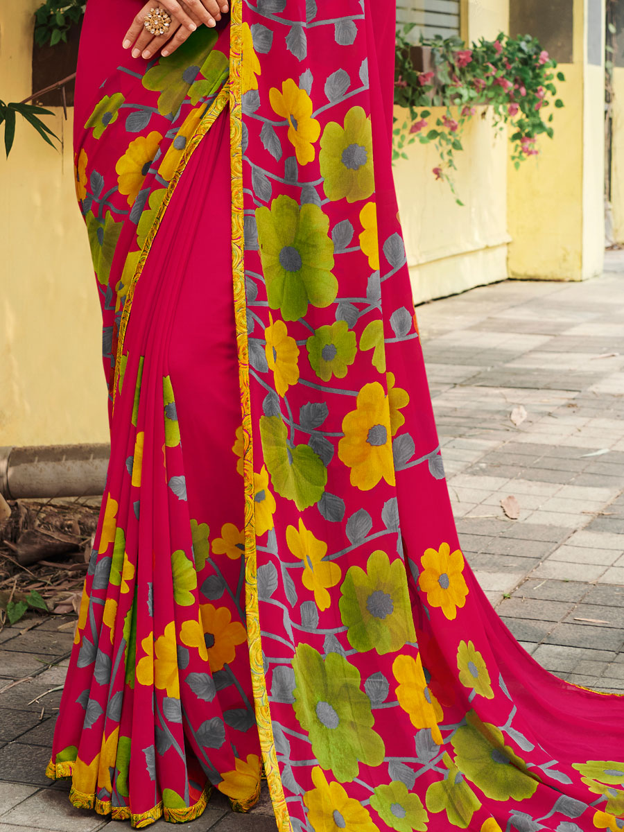 Carmine Pink Faux Georgette Printed Casual Saree