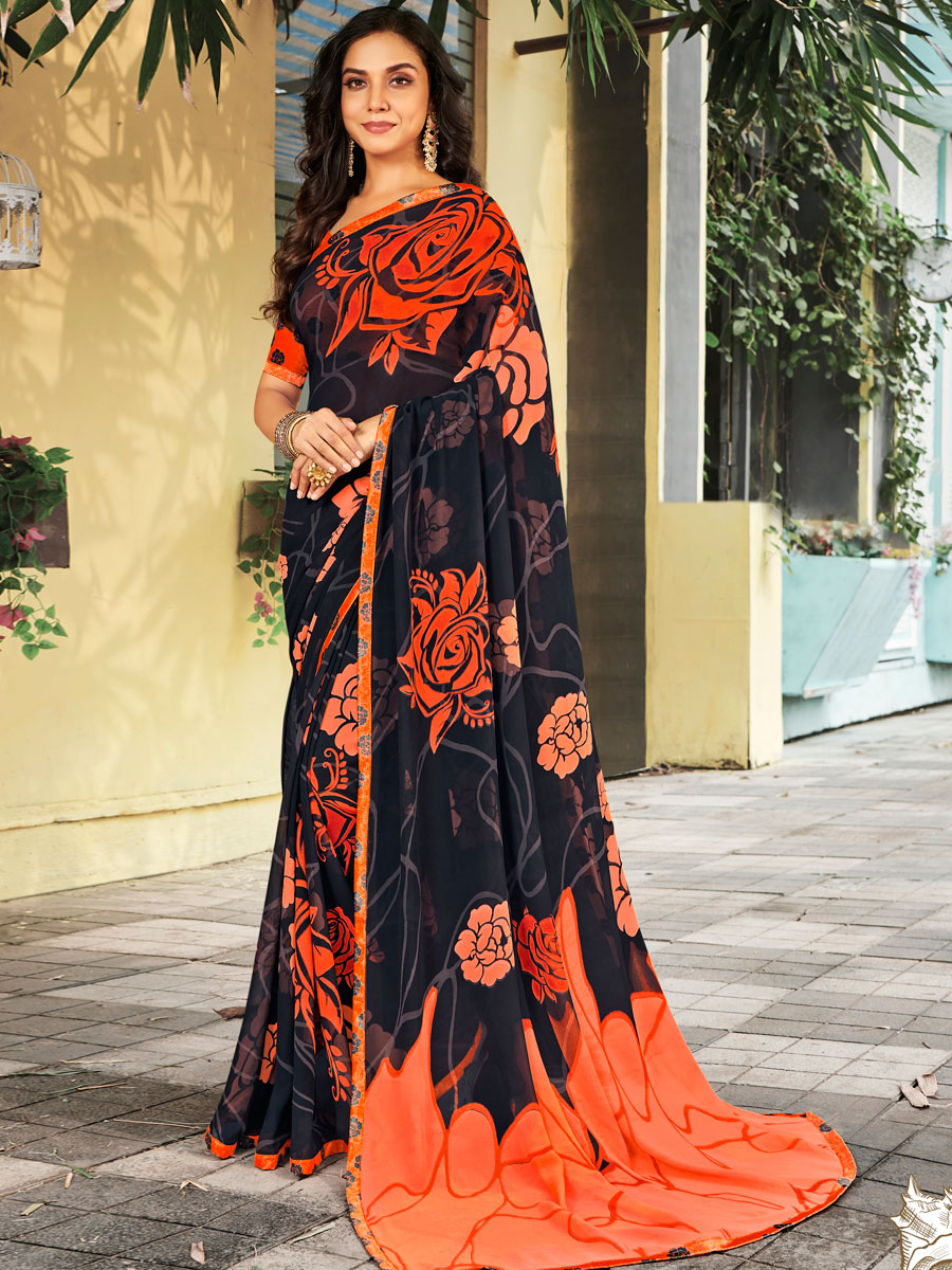 Black Faux Georgette Printed Casual Saree