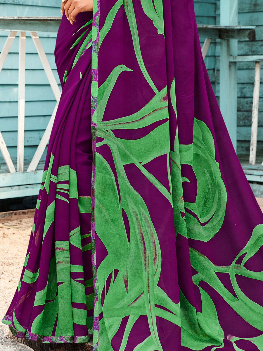 Byzantium Purple Faux Georgette Printed Casual Saree