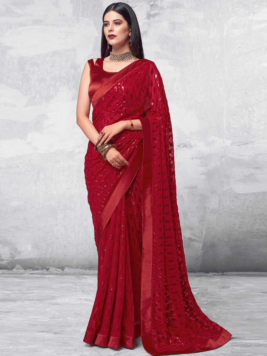 Maroon Faux Georgette Designer Party Saree