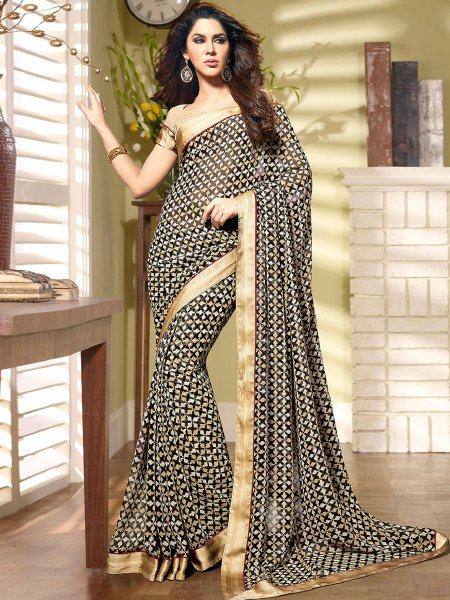 Beige Yellow and Black Faux Georgette Printed Casual Saree