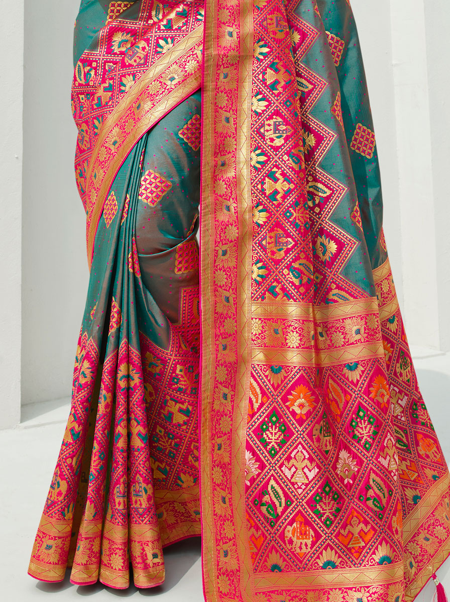 Teal Blue and Cerise Pink Silk Handwoven Festival Saree