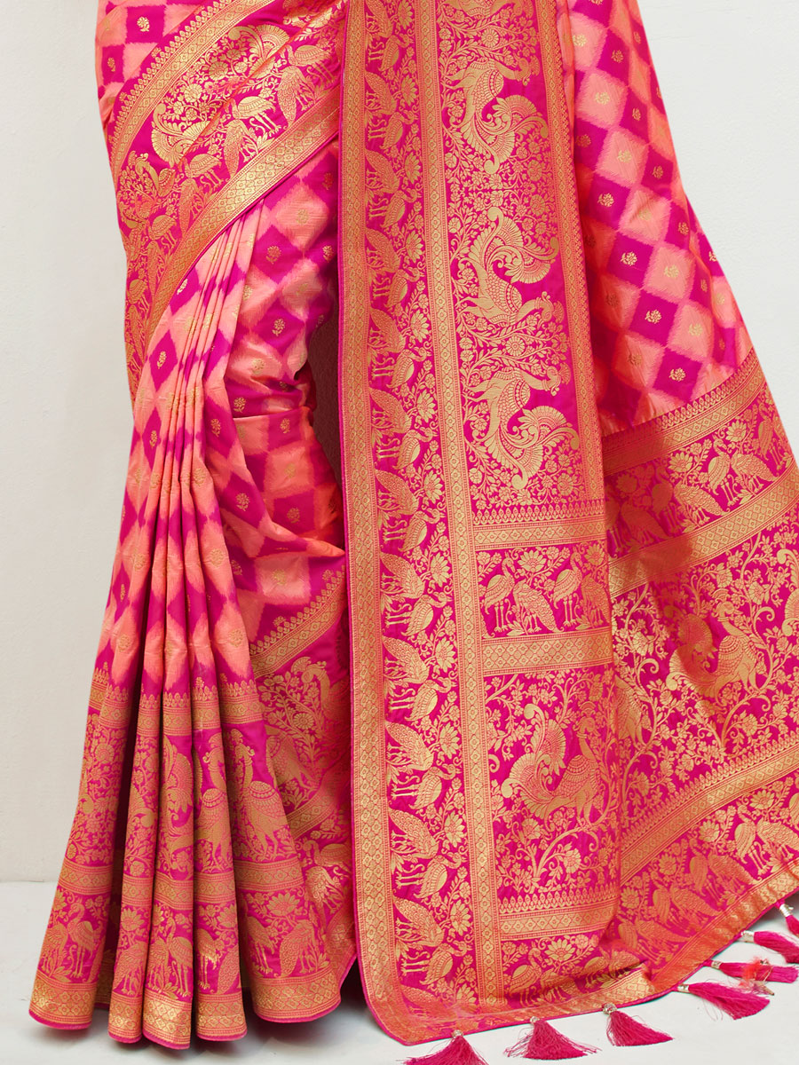 Light Pink and Magenta Pink Silk Handwoven Festival Saree