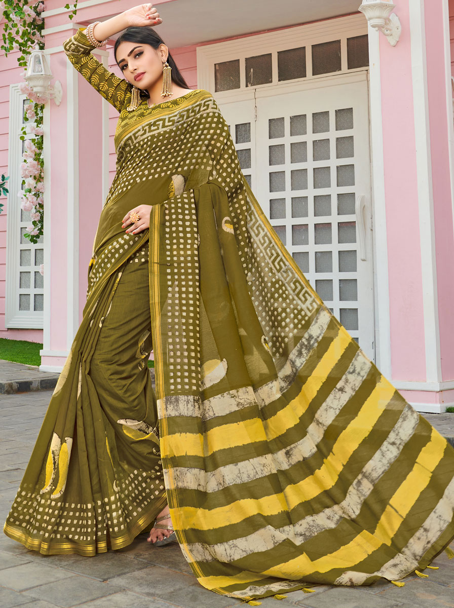 Olive Green Cotton Printed Casual Saree