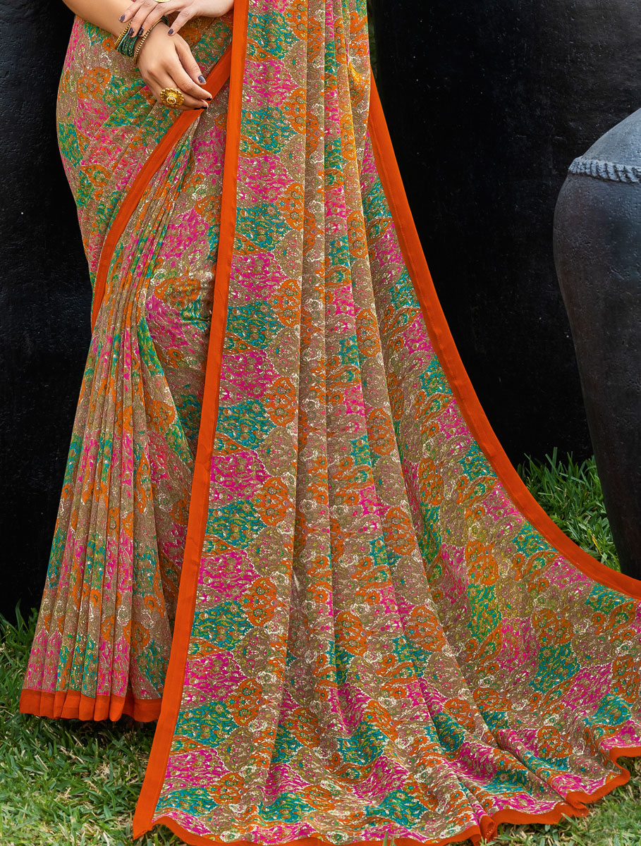 Fallow Brown and Orange Faux Georgette Printed Casual Saree